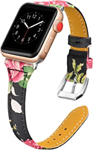 Secbolt Leather Bands Compatible Apple Watch Band 38mm 40mm Iwatch Series 6 5 4 3 2 1 SE Slim Replacement Wristband Strap Stainless Steel Buckle, Floral A