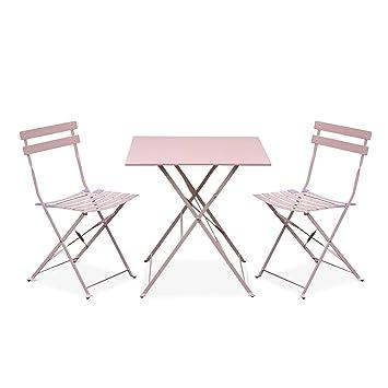 Salon de Jardin bistrot Pliable - Emilia carré Rose Pale - Table ...