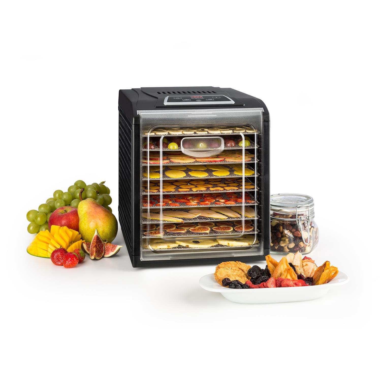 Klarstein Fruit Jerky 6 Plus essiccatore apparecchio essiccatore essiccatore di frutta, carne ed agrumi 420-500 Watt 6 mensole a griglia rivestimento a vista antiaderente nero