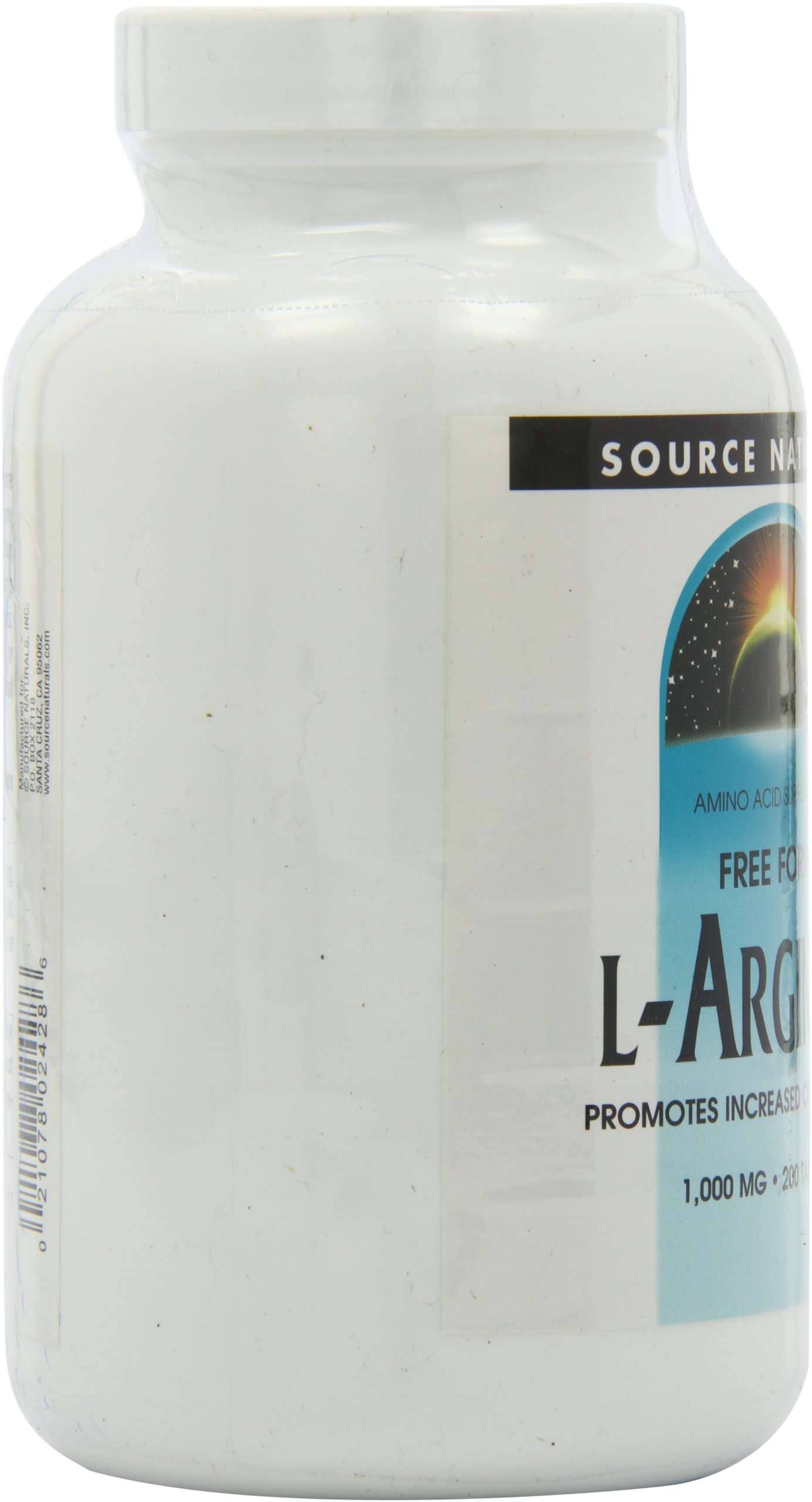 Source Naturals L-Arginine 1000mg Free-Form, Promotes Increased Circulation, 200 Tablets