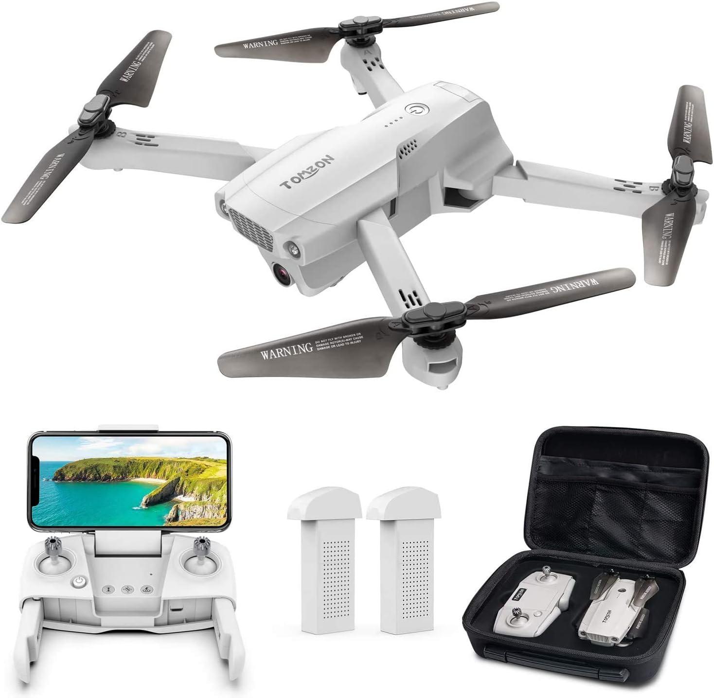 Tomzon D65 GPS Drone con cámara 4K HD WiFi, FPV RC Quadcopter plegable con regreso automático a casa, Sígueme, Tap Fly, Control de gestos, Modo MV, 2 baterías de 40 minutos y estuche de almacenamiento