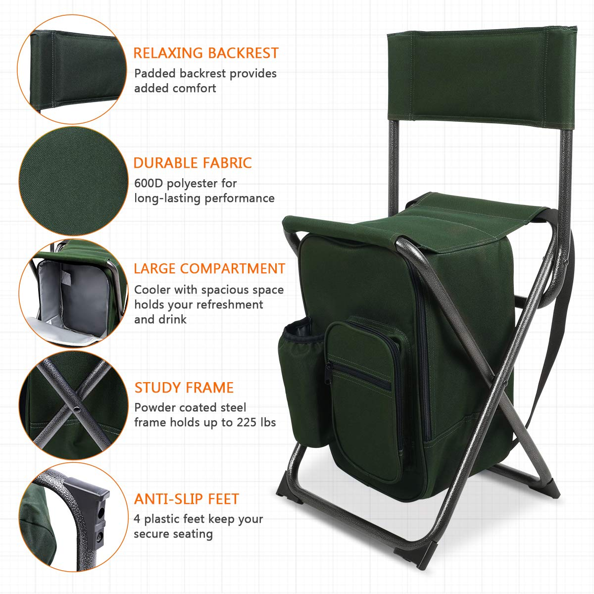 Supports 250 lbs Hengfeng Hiking Camping PORTAL Lightweight Backrest Stool Compact Folding Chair Portable Storage Seat with Cooler Bag and Shoulder Straps for Fishing