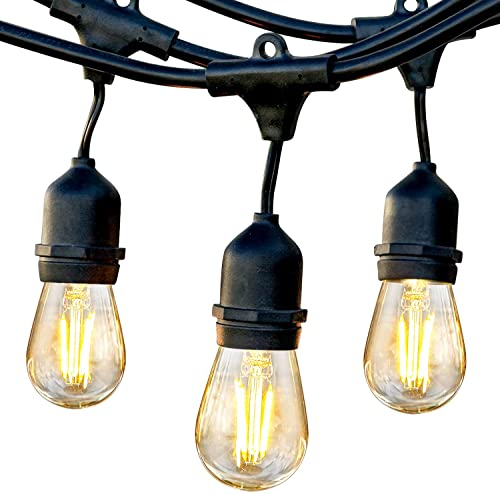 Brightech Ambience Pro – Waterproof LED Outdoor String Lights – Hanging 1W Vintage Edison Bulbs Create Bistro Ambience On Your Gazebo – 48 Ft Commercial Grade Cafe Lights, Dimmable