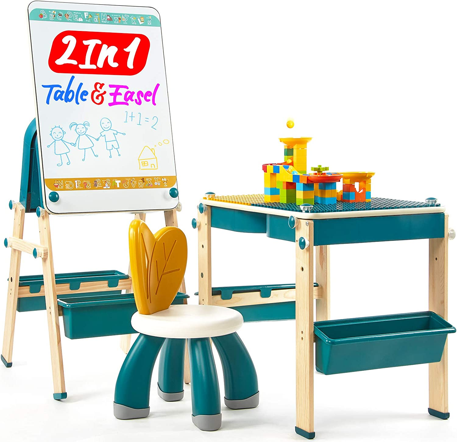 2 in 1 Kids Table & Easel with Blocks Set Childrens Toddler Kids Activity Table and Chair Set Kids Art Easel for Kids Table and Chairs for Kids Toddlers Toddler Kids Desk and Chair Set Toddler Chair