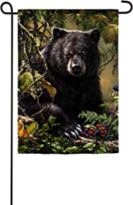 Evergreen Flag Beautiful Autumn Black Bear Woods Suede Garden Flag - 13 x 18 Inches Fade and Weather Resistant Outdoor Decoration for Homes, Yards and Gardens