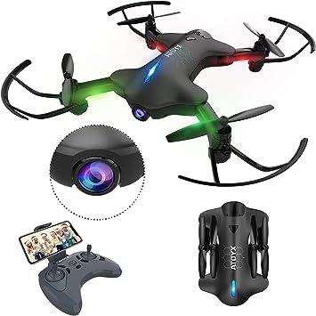 Opinión sobre ATOYX Drone con Cámara, 720 HD Drone Plegable con App WiFi FPV , Altitud Hold, Modo sin Cabeza, Una Tecla de Despegue y Aterrizaje de Gravedad RTF, Mejor Regalo,AT-146