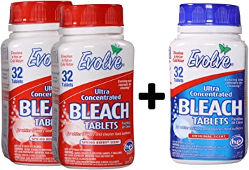 Evolve® Tabletas de lejía 2 botellas de aroma de bayas de ...