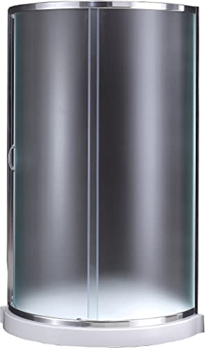 Ove Decors Breeze 31 in x 76 in. Frosted Glass Sliding Door and Base Kit Round Corner Shower, Inch, Chrome Finish