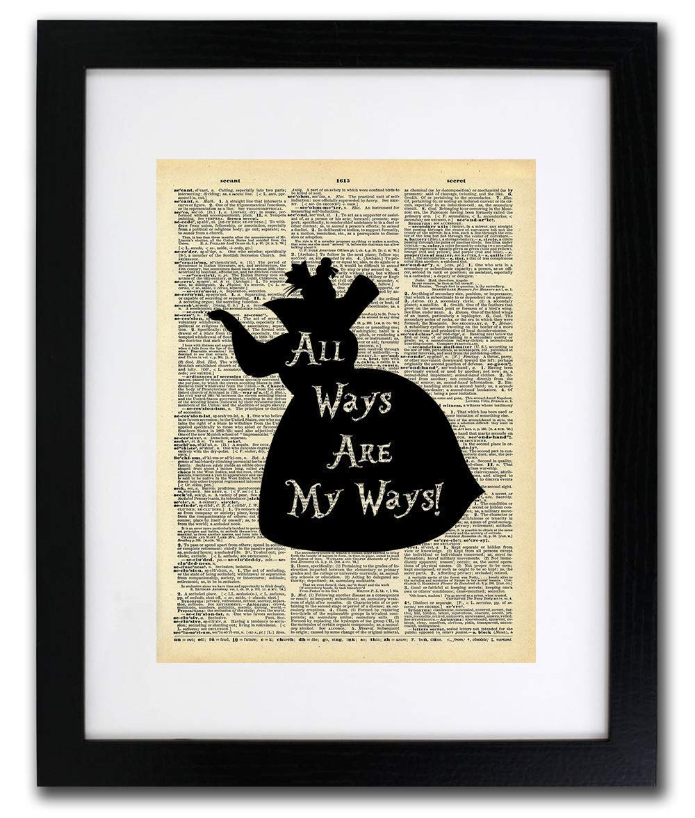 Inspirational And Motivational Quote Art Authentic Upcycled Dictionary Art Print All Ways Are My Ways Alice In Wonderland Queen Home or Office Decor Vintage Art Alice In Wonderland Art