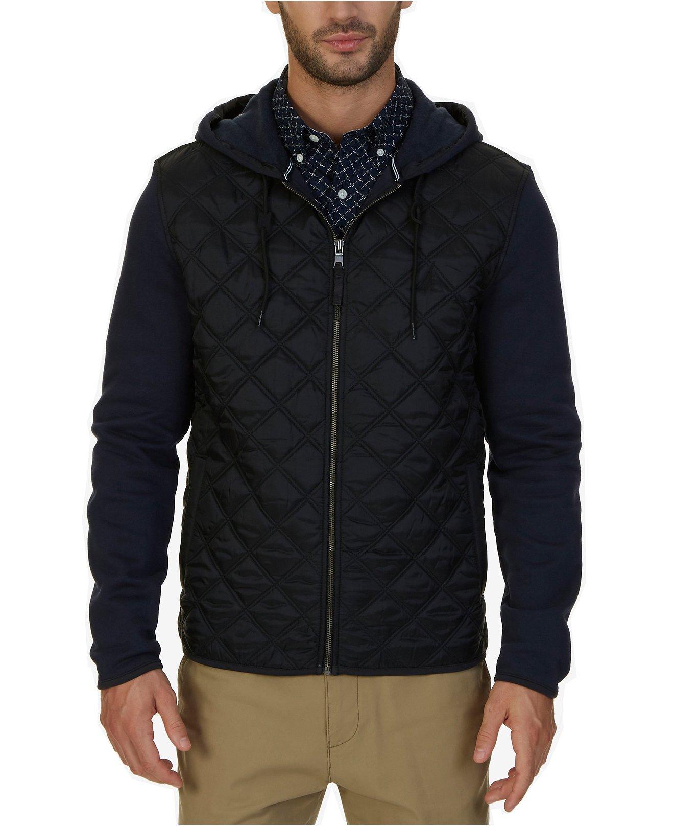 Nautica Men's Fleece Quilted Hoodie (Medium, Navy)
