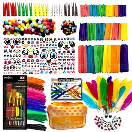 Cre8tivepick Art And Craft Kit For Kids Diy Art Supplies Set With Ebook Popsicle Sticks For Craft Colored Wooden Clothspin Chenille Stems Pom Poms