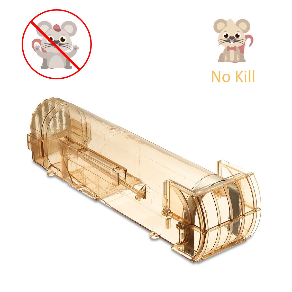 SAFETYON Auto Mouse Trap Safety Humane No Kill Rat Rodents Pest Control Bucket Mice Catcher, Catch and Release Trap Brown