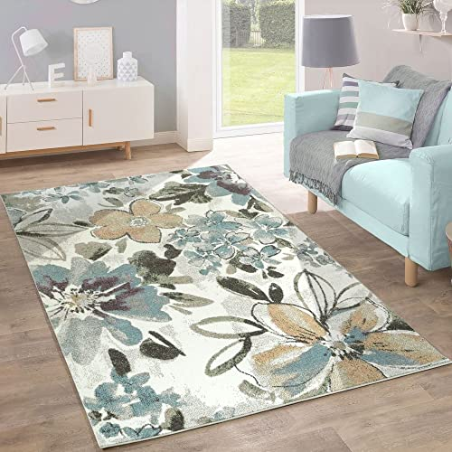 Designer Rug Modern Living Room Flowers Pattern Pastel Tones In Grey Blue  Cream, Size: