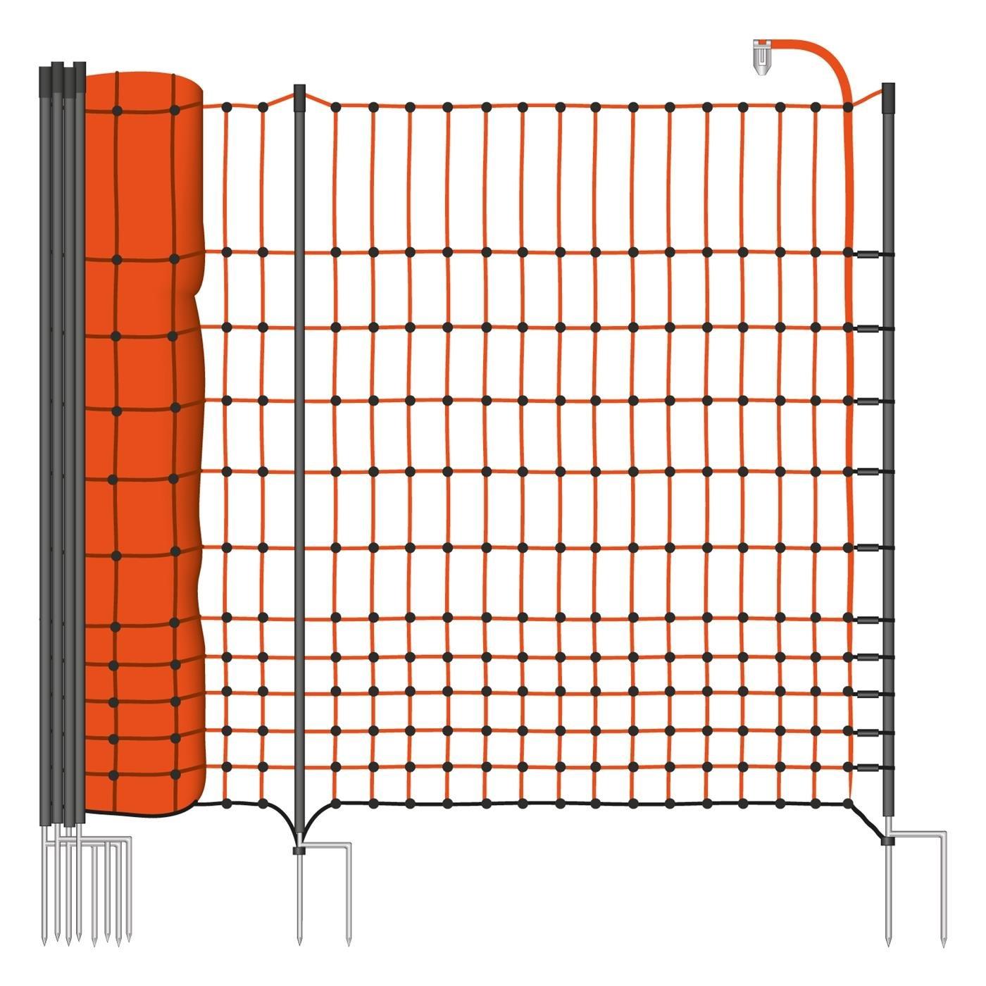 50 m Premium Hühnerzaun, Geflügelzaun/-netz, Kleintiernetz, 112 cm, 20 Pfähle, 2 Spitzen von VOSS.farming farmNet