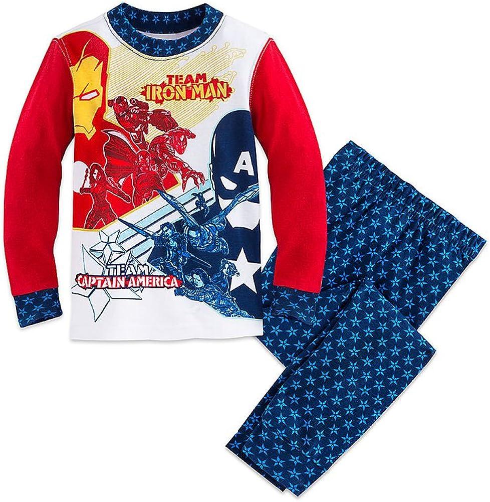 Disney Store Boys Marvels Team Iron Man//Team Captain America PJ Pals Pajama Set