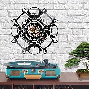 ZYTT Retro Skull Design Wall Clock Skull Head Vinyl Record Wall Clock Skeleton Vampire Halloween Home Decor Wall Art Clock Watch 12 inches-NO_LED