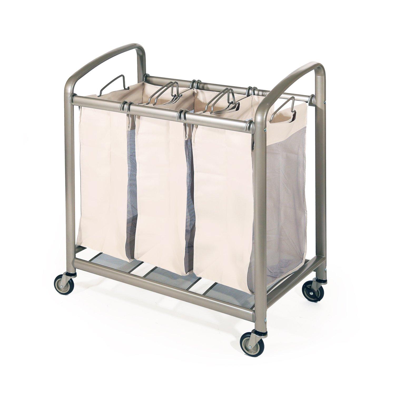 Seville Classics Deluxe Mobile 3-Bag Heavy-Duty Laundry Hamper Sorter Cart WEB176