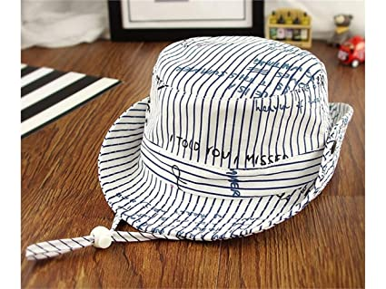 Amazon.com   Yuchoi Sun Children Alphabet Stripe Sun Protection Hat Sun  Visor Kids Fisherman Hat Bucket Hat for 1-3 Years Old(Navy) (Color   Navy  Blue d89683618af4