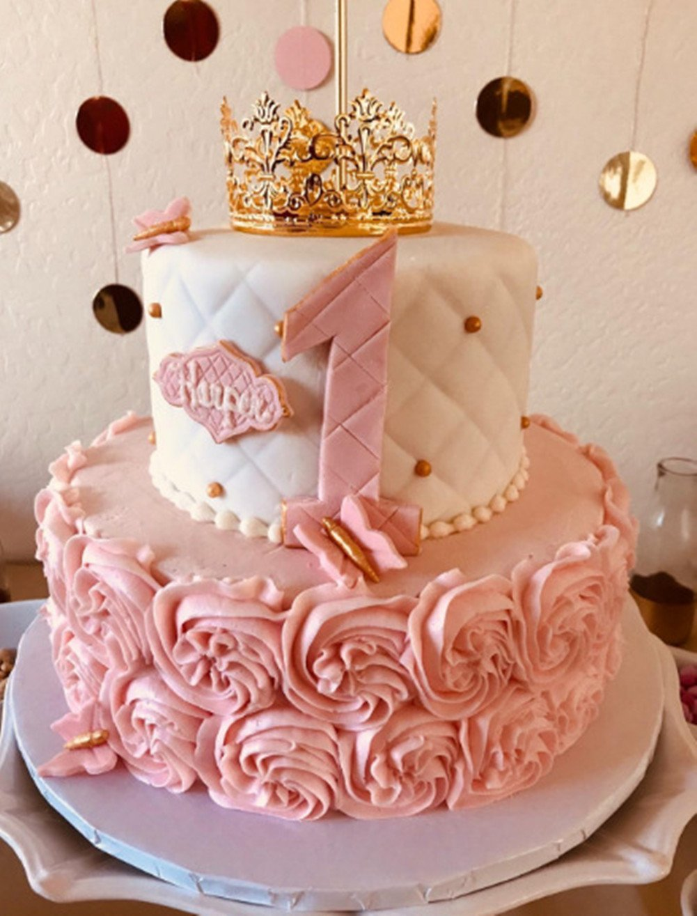 HYOUNINGF Gold Crown Cake Topper Elegant Cake Decoration For King, Queen, Prince And Princess Themed Parties, Royal Birthday Cake Decoration by HYOUNINGF (Image #4)
