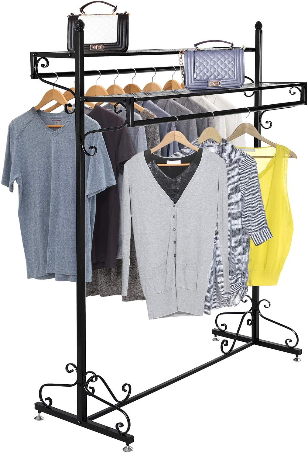 MyGift 63-Inch Victorian Style Black Metal 2-Tier Freestanding Clothing Closet/Garment Hanging Display Rack with Top Cargo Storage Shelves