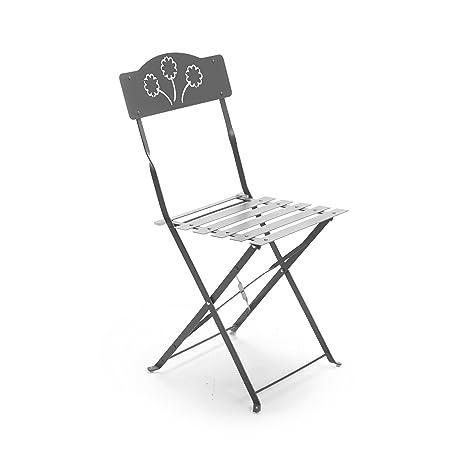 Sedie In Ferro Pieghevoli.Set Due Sedie In Ferro Pieghevoli Per Giardino Grigio Scuro