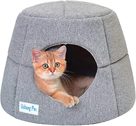 Ushang Pet 2 In 1 Covered Cat Bed For Indoor Cats Quality Washable Cat Condo Pet Igloo Soft Cat Cave House For Hamster Small Animal Pet Supplies