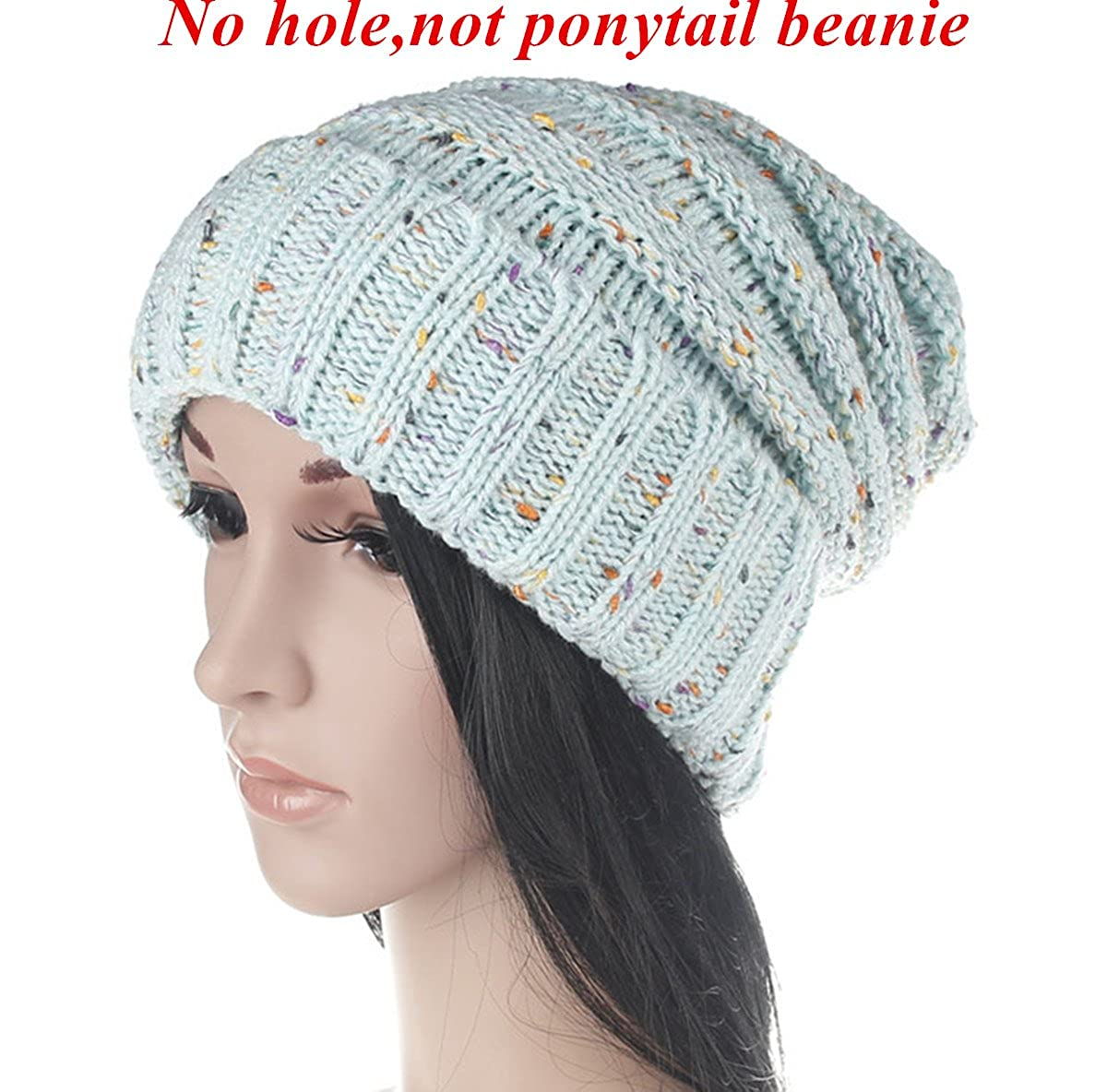 Beanie Hat With Ponytail Hole - Parchment N Lead 6f6127bbcfe0