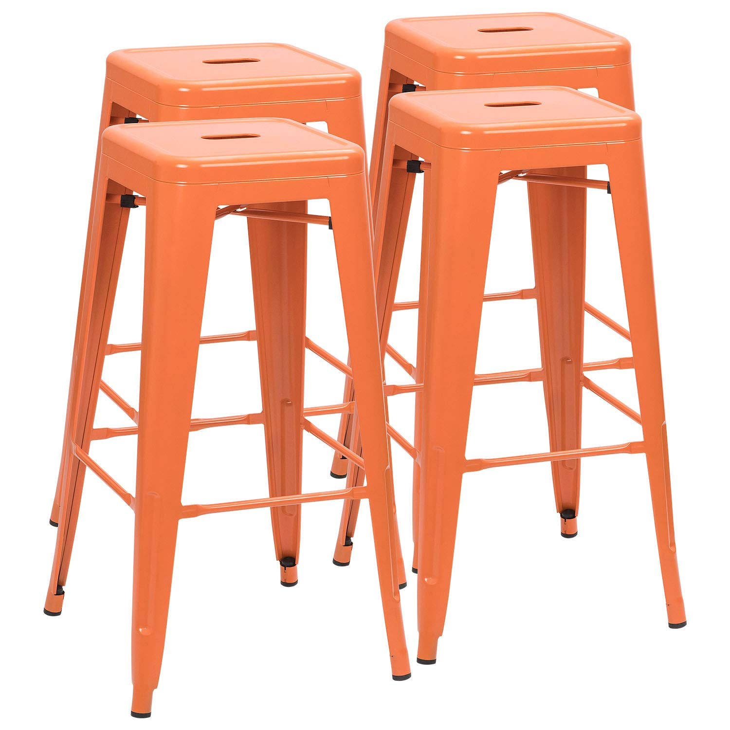 Furmax 30 Inches Metal Bar Stools High Backless Stools Indoor-Outdoor Stackable Orange Stools(Set of 4)