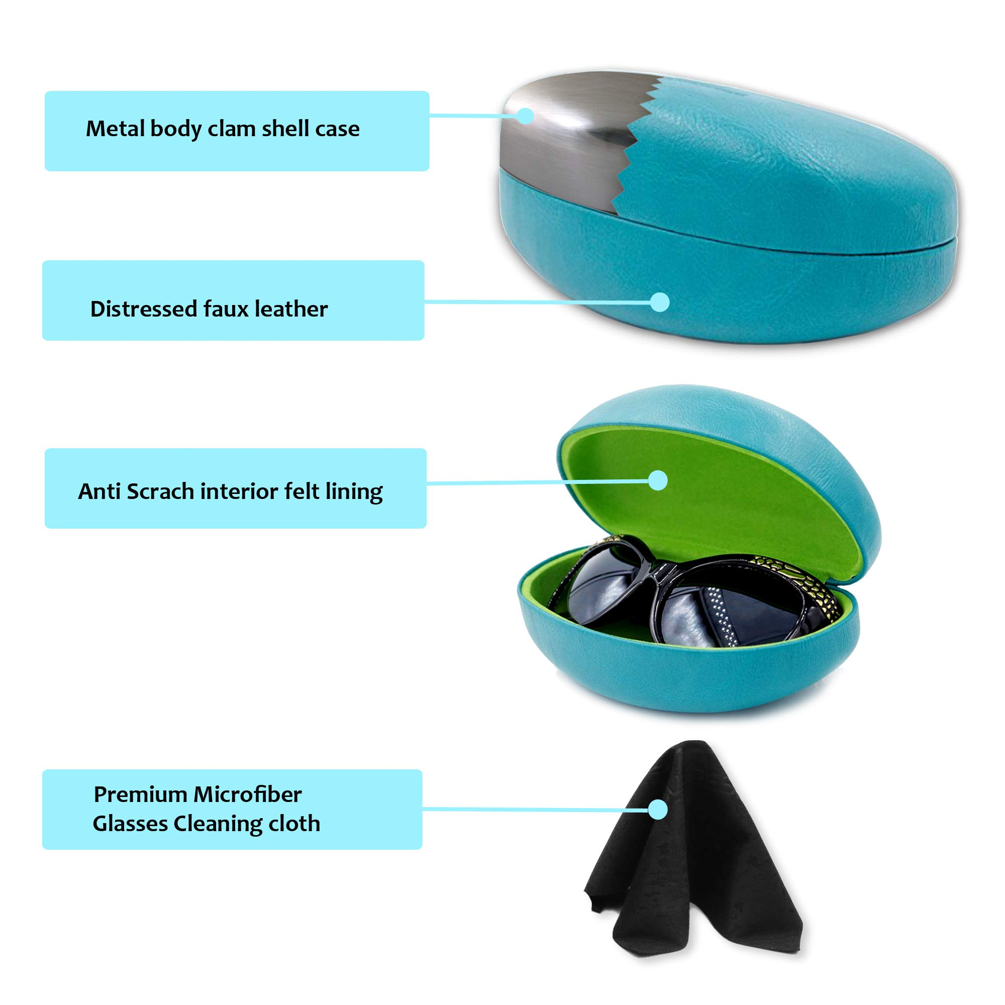 Premium Sunglasses Case with Microfiber Cleaning Cloth - Hard for Medium & Large | For Men & Women | Protective | Sturdy | AS413 Teal by MyEyeglassCase (Image #2)