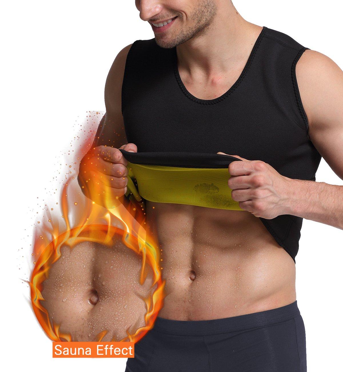Rdfmy Men's Hot Sweat Body Shaper Workout Tank Top Slimming Vest Weight Loss Shapewear Neoprene No Zipper 3XL