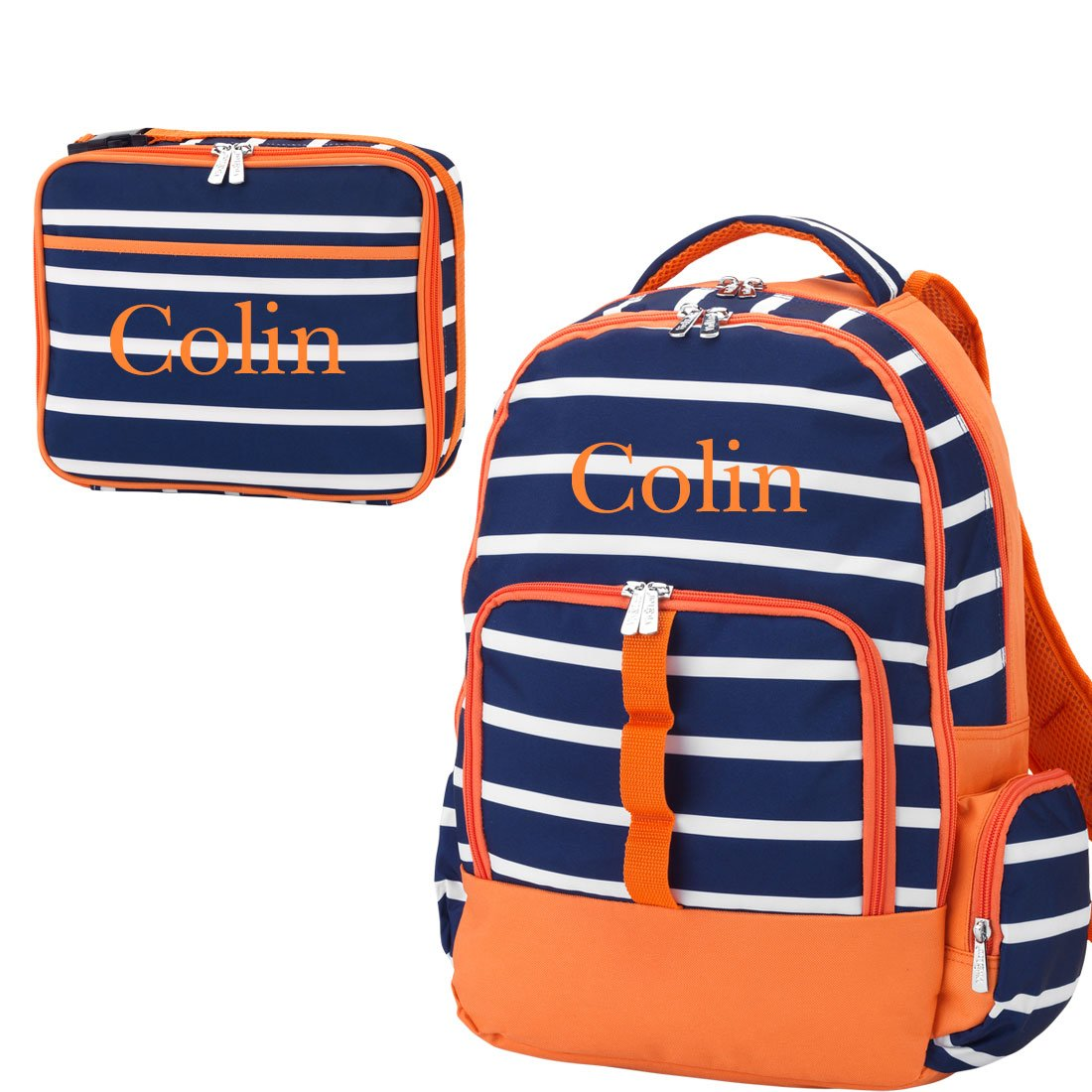 Reinforced Design Water Resistant Backpack and Lunch Sack Set (Personalized, Line-Up Navy Orange) by WB