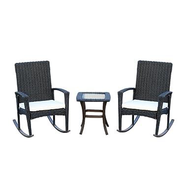 Outsunny 3 Piece Outdoor PE Rattan Wicker Rocking Chair and Tea Table Set - Dark Grey/Cream