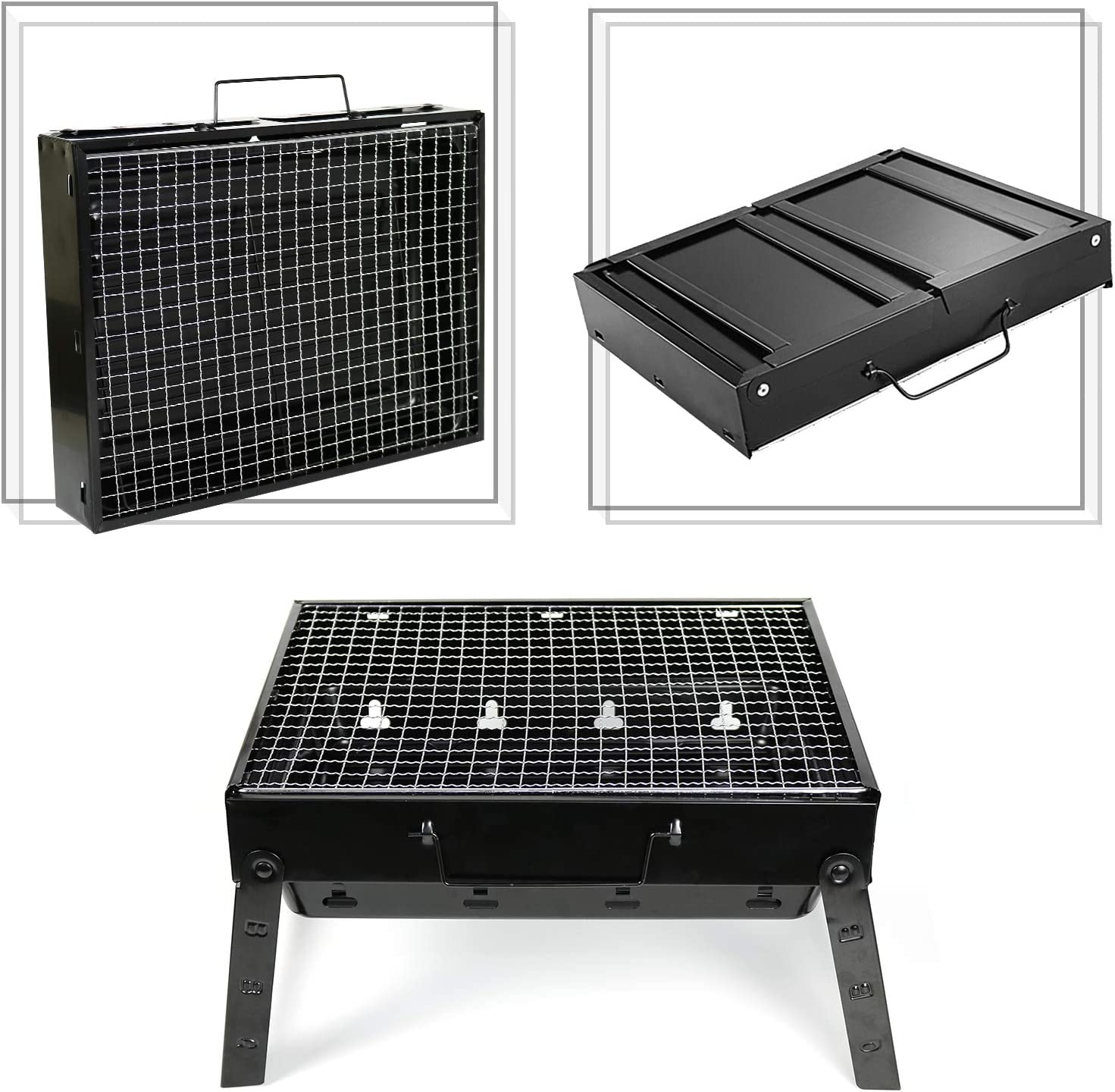 Cooking Folding Charcoal Grill for Outdoor Grilling Picnics Party 13.7x10.6x7.5 TRENDBOX BBQ Grill