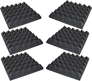 """product image for Foamily 6 Pack - Acoustic Foam Sound Absorption Pyramid Studio Treatment Wall Panels, 2"""" X 12"""" X 12"""""""