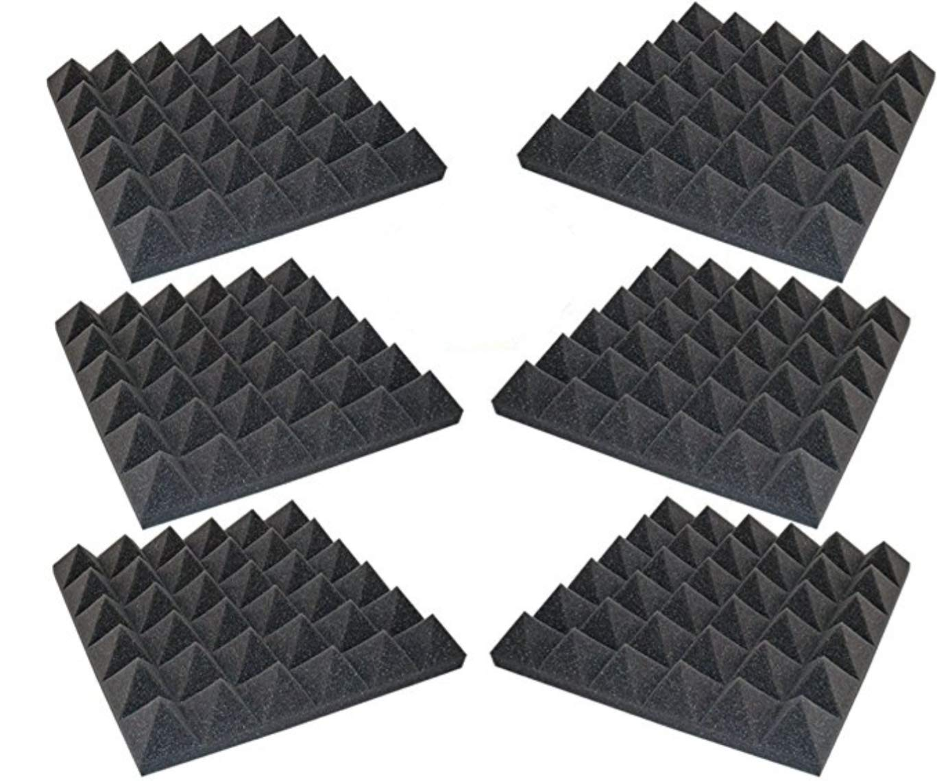Foamily 6 Pack - Acoustic Foam Sound Absorption Pyramid Studio Treatment Wall Panels, 2'' X 12'' X 12''