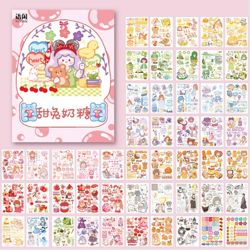 Kawaii Washi Stickers Set (50 Sheets) Cute Girl Kids Pets Sweet Food Drink Adhesive Label Decorative Sticker for Scrapbooking Journaling Journal Planner Diary Album Letter