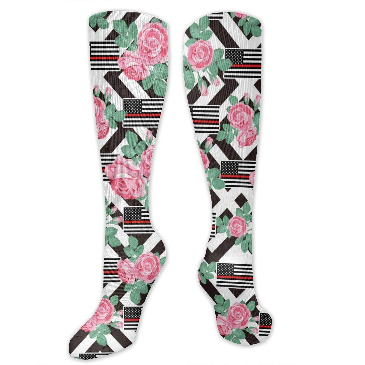 Long Knee High Boot Socks Personalized Red Line Flag Socks