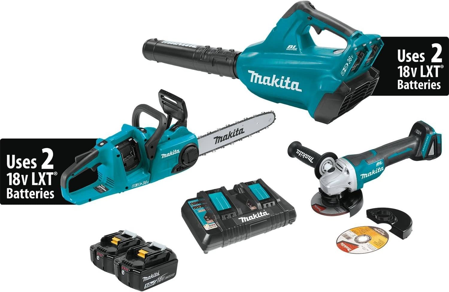 Makita XT276PTX 18V X2 36V LXT Lithium-Ion Brushless Cordless 2-Pc. Combo Kit 5.0Ah and Brushless Angle Grinder