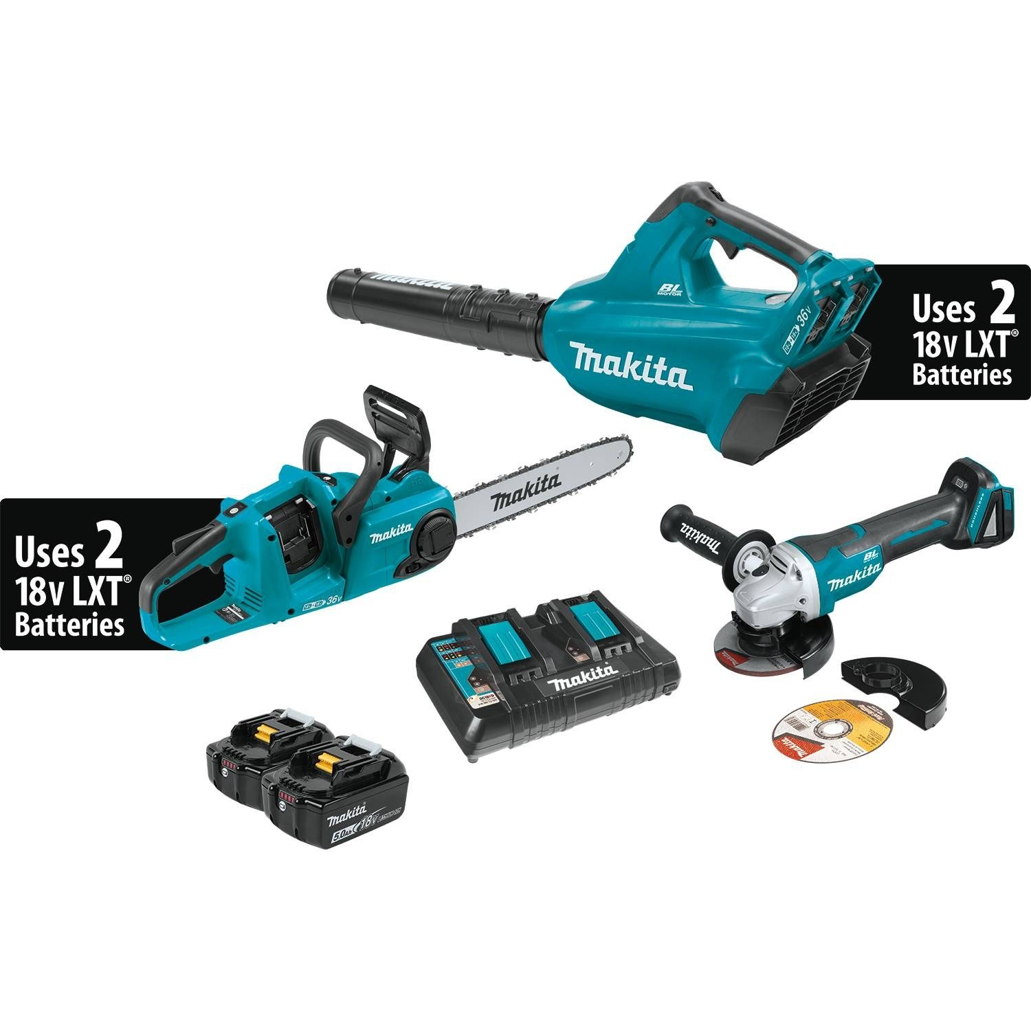 Makita Makita XT276PTX 18V X2 (36V) LXT Lithium-Ion Brushless 2-Pc. Combo Kit (5.0Ah) & Brushless Angle Grinder by Makita