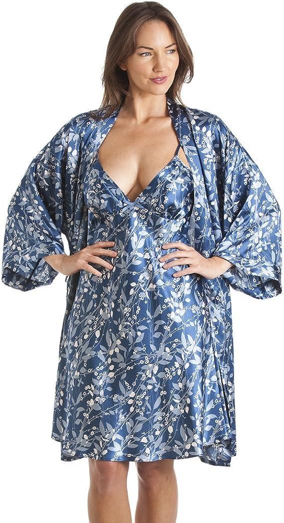 Conjunto de camisón y Bata Estilo Kimono - Estampado Floral - Azul ...