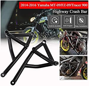 FATExpress MT-09 Tracer 900 XSR900 Accessories Motorcycle Black Steel Highway Crash Bar Stunt Slider Cage Engine Guard Crashbar Frame Protector for 2014 2015 2016 Yamaha FZ-09 MT09 FZ09 MT FZ 09