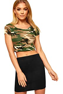New Womens Army Camouflage Green Print Cap Sleeve Vest Ladies Crop Top 8-14 1d0e297b1