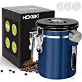 Airtight Coffee Canister, HOKEKI Stainless Steel Container for the Kitchen, Coffee Ground Vault Jar With One Way Co2 Valve And Scoop, Tea Coffee Sugar, Extra Coffee Spoon, 16 oz (Blue)