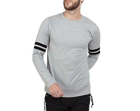 SayItLoud Men's Solid Round Neck T shirt (40SOLIDGREYBLACK-XL_Grey,  Black_X-Large)