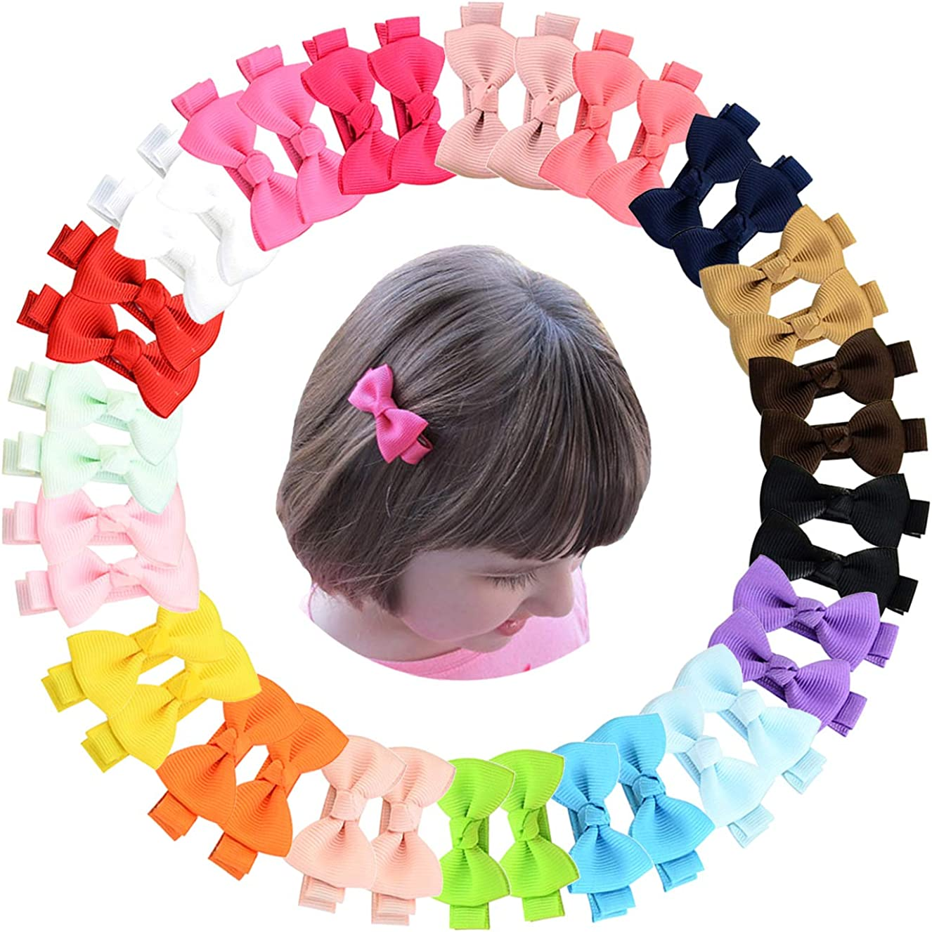 Elesa Miracle Baby Girl Hair Clips Toddlers Infants Kids Hair Grosgrain Ribbon Bow Snap Clips Barrettes (40pc- Mini Bow Clips)