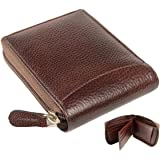 mtuggar Men's Leather RFID Protected Wallet (Brown)