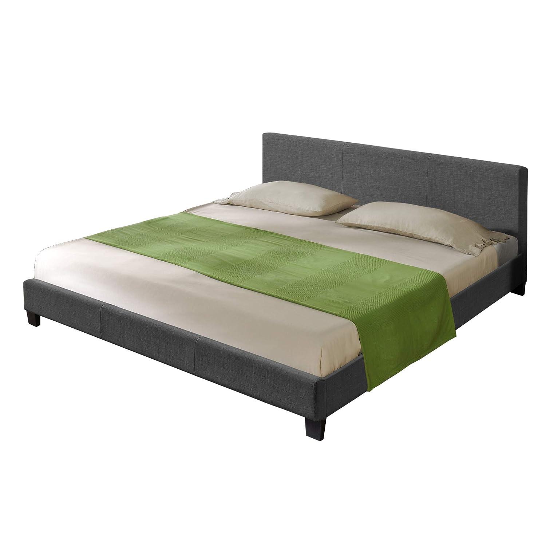 Hochwertiges Bett aus Stoff 140x200cm dunkelgrau 100% Polyester