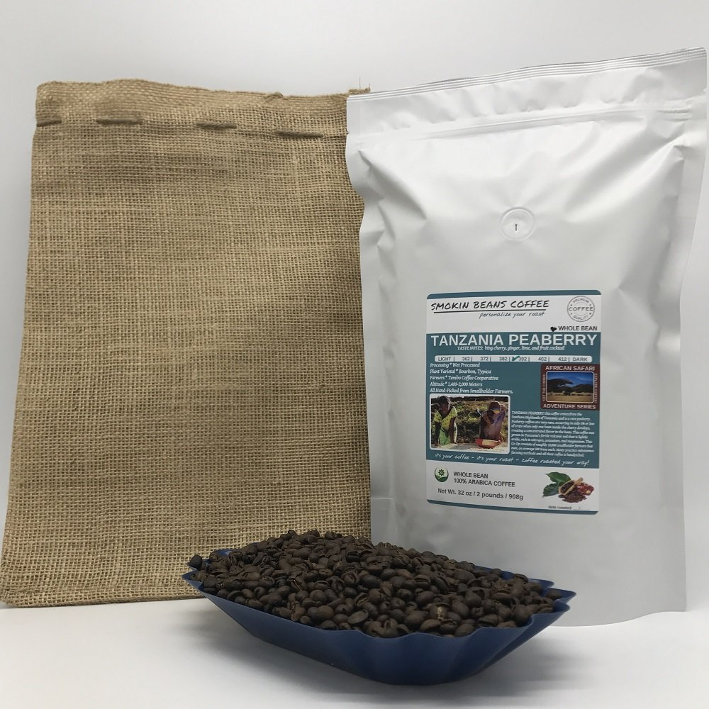 2-LBS SUPER FRESH ROASTED – TANZANIA PEABERRY COFFEE (in a FREE BURLAP BAG) – Order Today/ROASTED TODAY – Beautiful Medium/Dark, Whole Bean – SUPER SWEET – a Perfectly Developed Roast – BEST TASTES by Smokin Beans (Image #1)