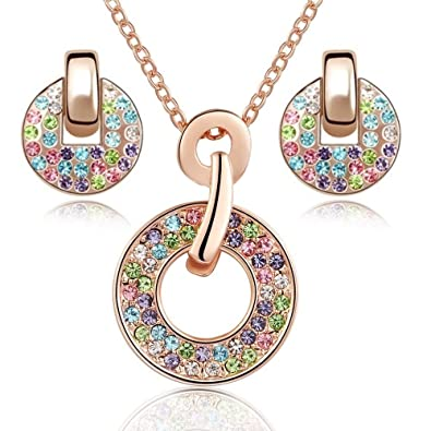 ba8a1151ab6 Crystalline Azuria Women 18 ct Rose Gold Plated Round Colorful Multi Crystals  Set Pendant Necklace 18