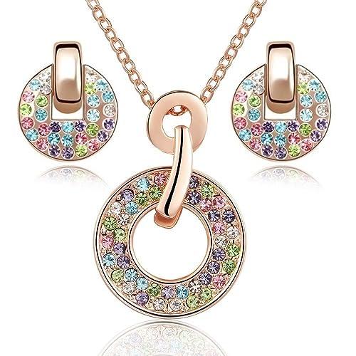 443a4ec0ab2d Crystals from Swarovski Colorido Redondo Juego de joyas Collar con colgante  45 cm Pendientes 18k Chapado en oro rosa para mujer  Amazon.es  Joyería